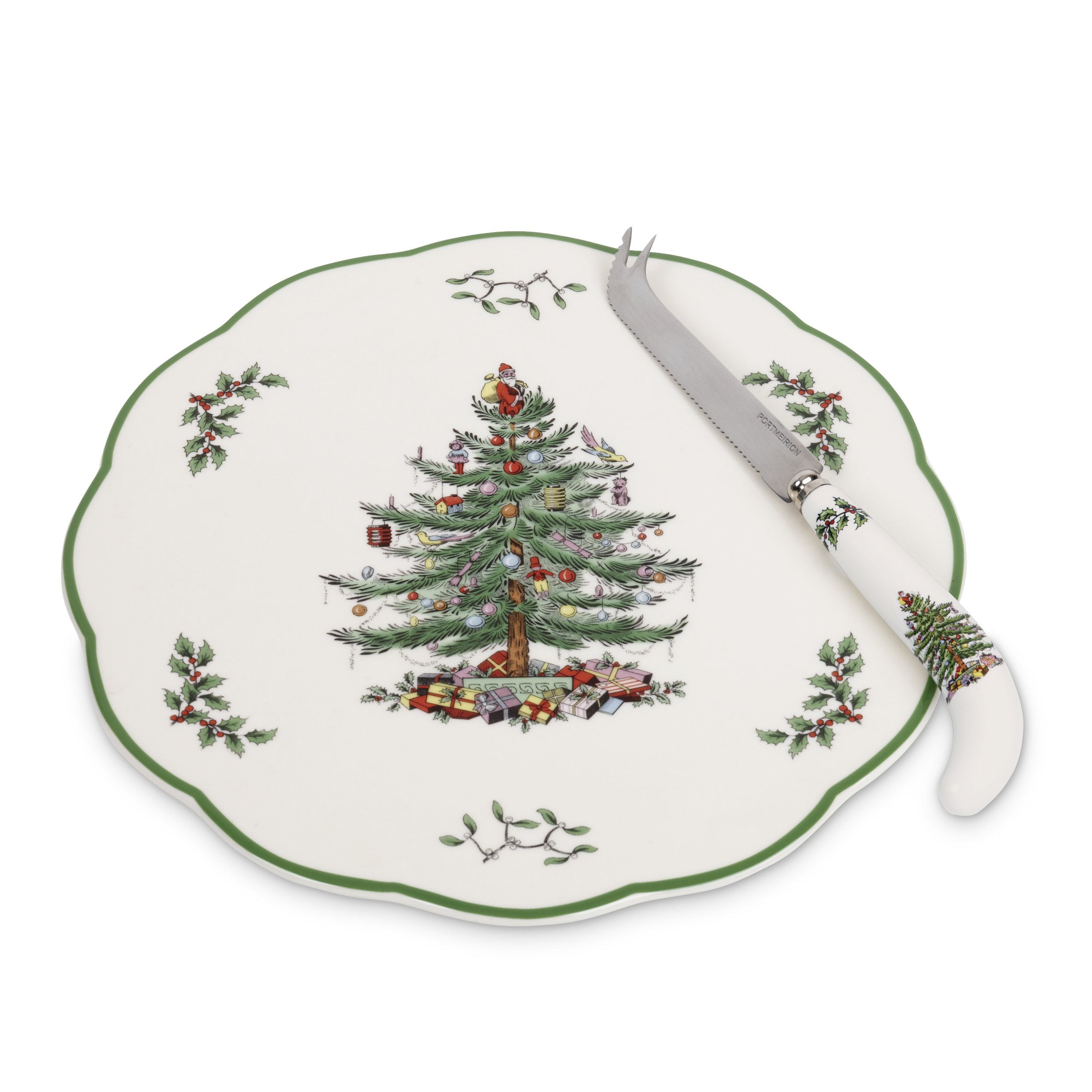 Spode Christmas Tree Appetizer Plate with Cheese Knife
