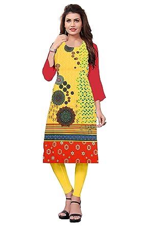 8feebab5535 Belomoda Yellow Color Heavy American Crepe Fabric 3 4 sleeve Round Neck  Digital Print Kurti For Women  Amazon.in  Clothing   Accessories