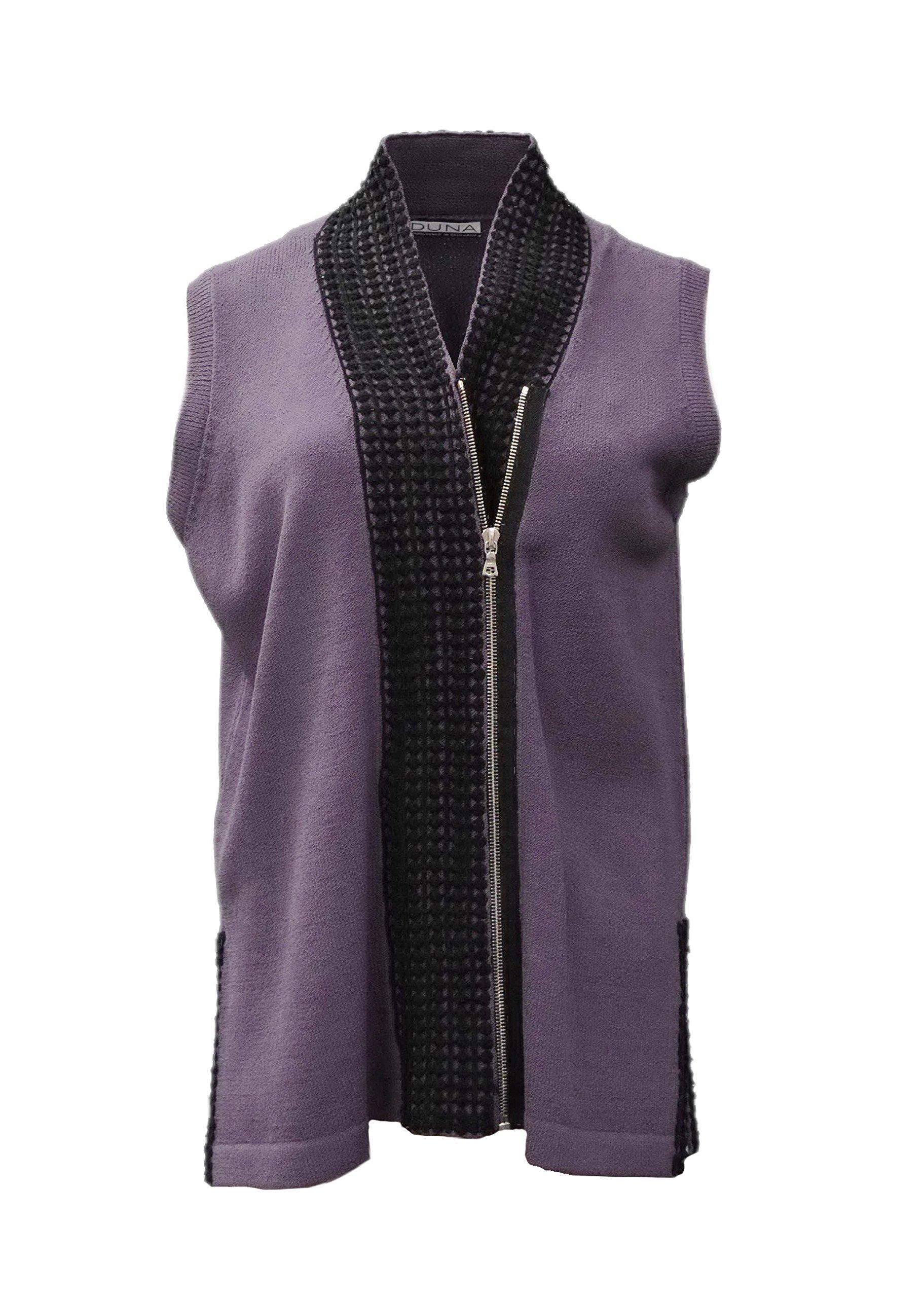 DUNA Womens Knit Shawl Collar Zip Vest Top OSFA Purple 60482E