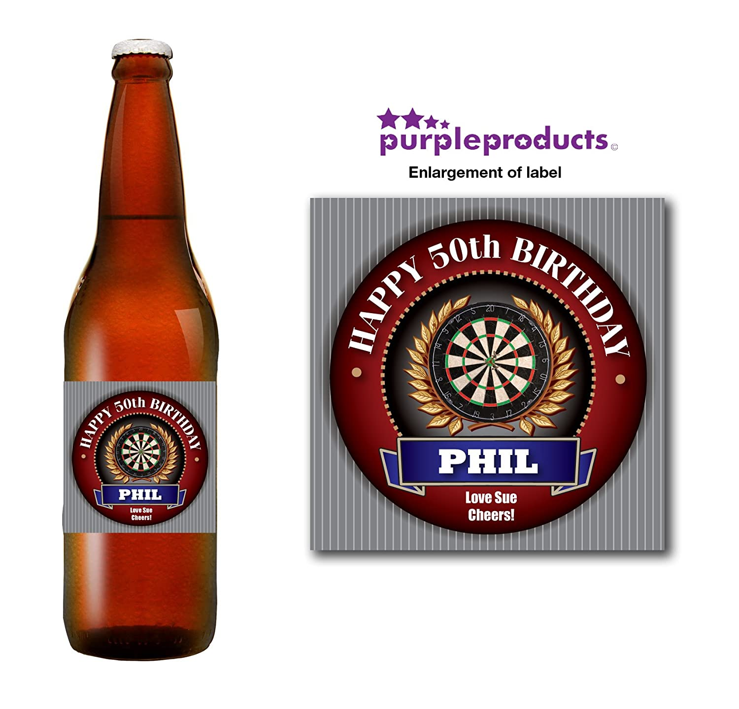 Personalised Darts Player Fan 18th 21st 30th 40th 50th Birthday Beer Bottle label Gift Purple Products