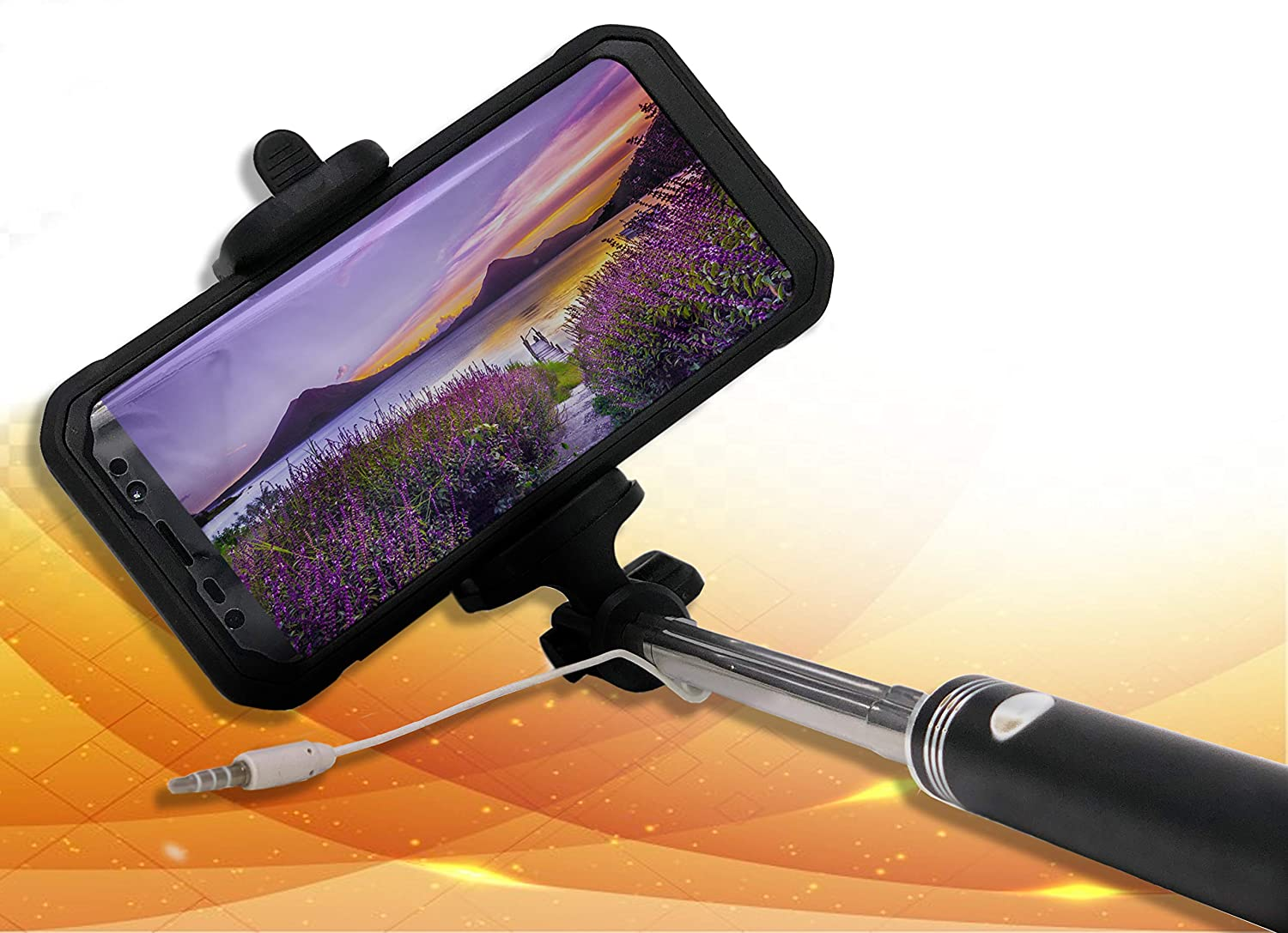 Selfie Stick Wired - No Battery Required for iPhone X/8/8 Plus/7/7 Plus/Galaxy Note 8/S8/S8 Plus/Pixel/XL/LG G6/G5 & More CGM SUPPLY IP5AGSP-RO