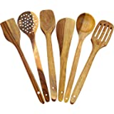 PEBBLE CRAFTS Handmade Wooden Serving and Cooking Spoon Kitchen Utensil - Set of 6
