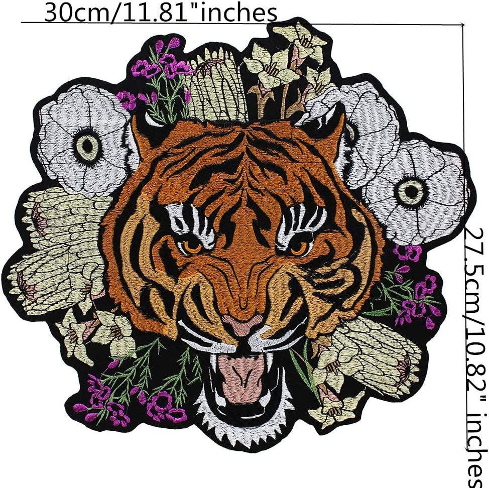 Patches  Embroidered Badge Applique Fabric Craft DIY Tiger Lion Bird Flower Cat