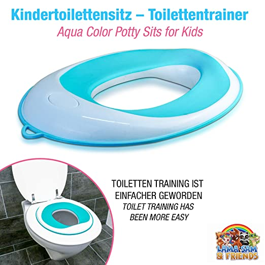 Klobrille f/ür Jungen und M/ädchen sichere rutschfeste Oberfl/äche in Farbe Aqua Lama Sam /& Friends Aqua Toilettentraining-Sitz f/ür Kinder