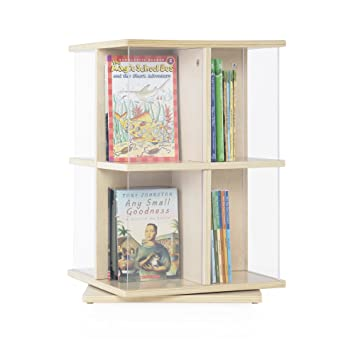 Guidecraft 2 Tier Rotating Book Display Set, Acrylic Table Top Book Shelf  Carousel, School