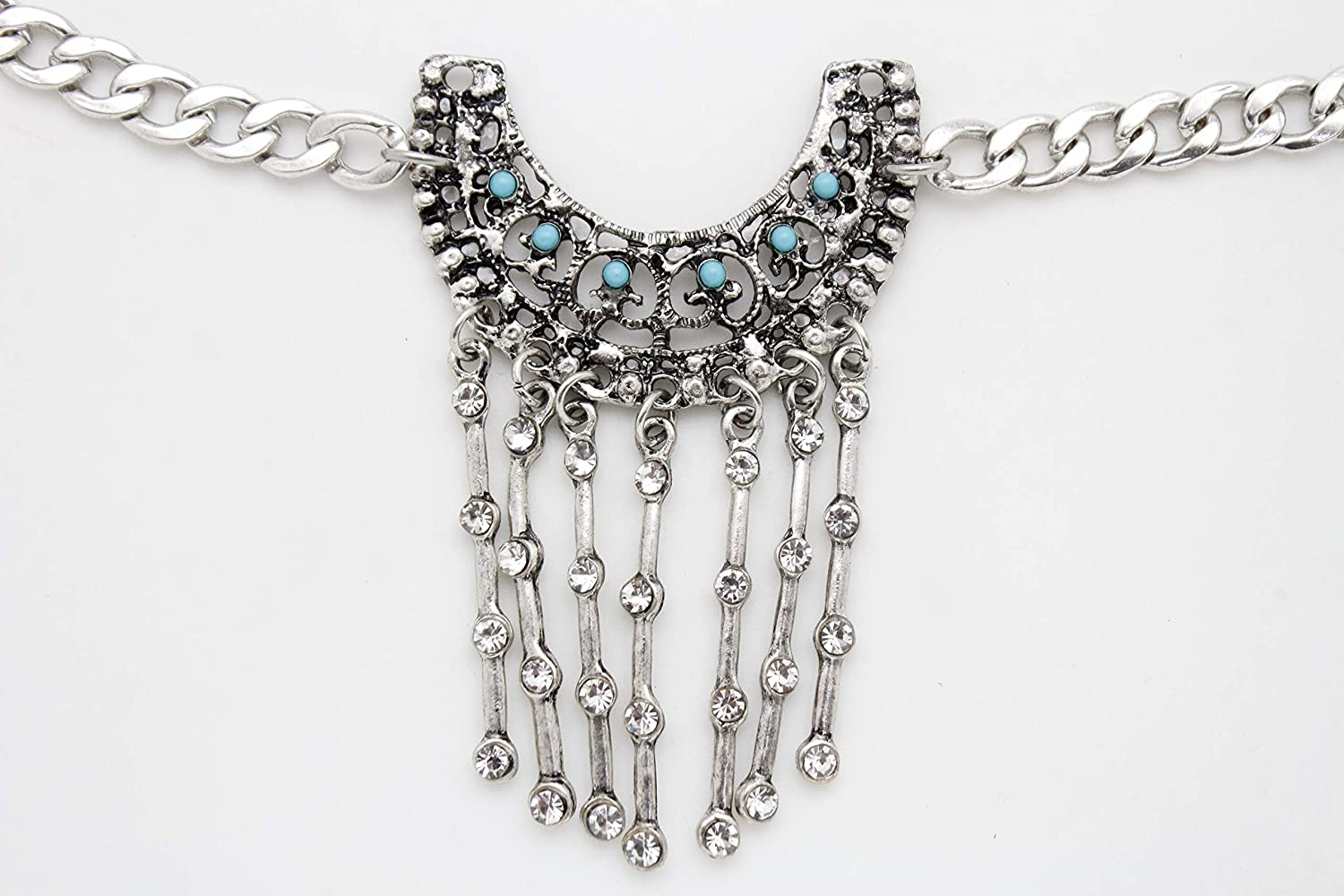 TFJ Women Ethnic Fashion Jewelry Boot Chain Bracelet Silver Metal Bling Shoe Anklet Vintage Charm Turquoise Blue