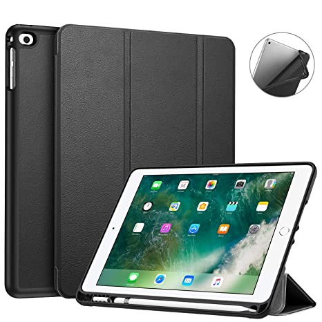 Fintie iPad 9.7 2018 Case with Built-in Apple Pencil Holder - [SlimShell] Lightweight Soft TPU Back Protective Stand Cover with Auto Wake/Sleep for ...