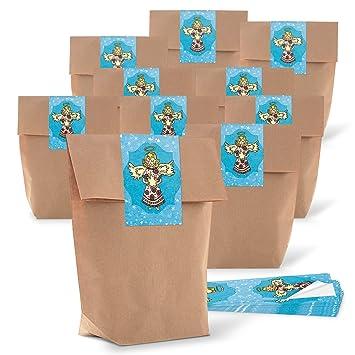 10 pequeñas bolsas marrones weihnac Papel bolsas de regalo (14 x 22 x 5,