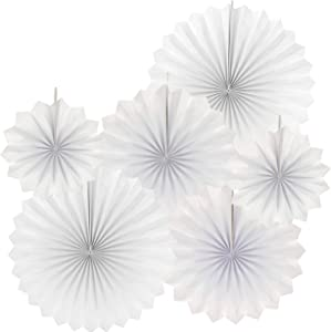 White Party Hanging Paper Fans Bridal Shower Wedding Engagement Ceiling Hangings Baby Shower Birthday Party Decorations, 6pc