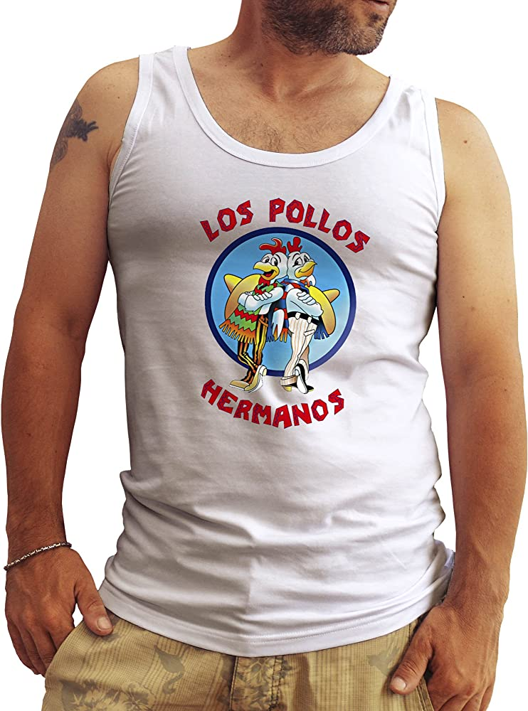 Top Los Pollos Hermanos Breaking Bad Blanca Hombres Camiseta Sin Mangas Tank Tops Large: Amazon.es: Ropa y accesorios