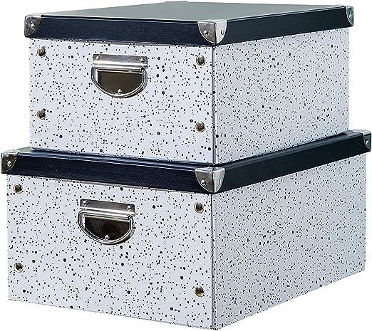 SLPR Caja Plegable de cartón con Esquinas metálicas y Asas (Splash Moderno, Juego de 2, Medio) -