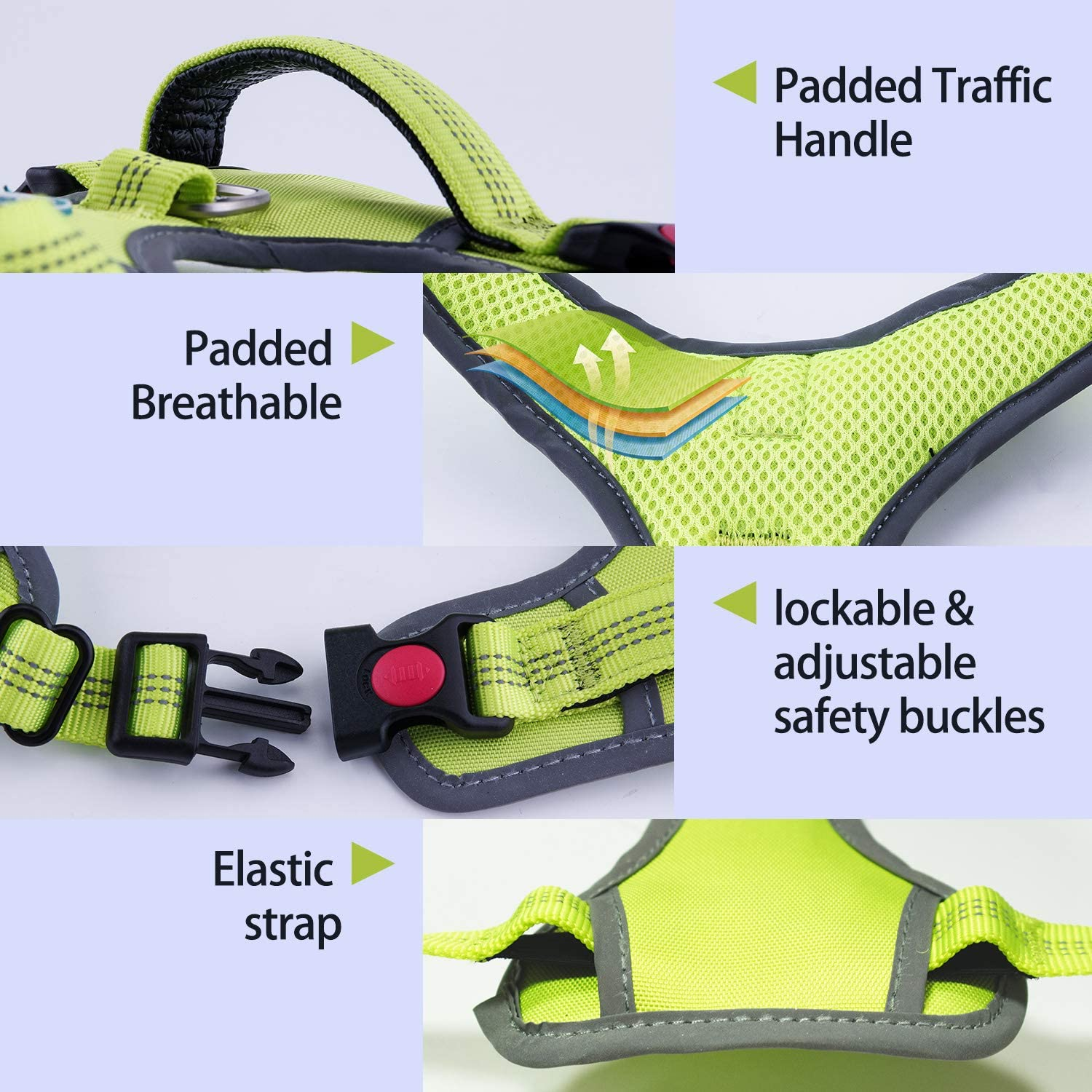 Reflective Padded Dog Safety Vest with Reflective Neon Dog Leash M Red//Leash Set 1 ThinkPet No Pull Harness Breathable Sport Harness with Handle