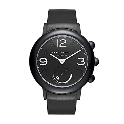 Marc Jacobs Womens Riley Aluminum and Rubber Hybrid Smartwatch, Color: Black (MJT1002)