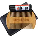 Beard and Mustache Comb Plus Bonus Balmstick,100% Sandalwood,Anti Static,Protective Sleeve,Fine/Coarse Teeth-Unique Stocking Stuffer for Men