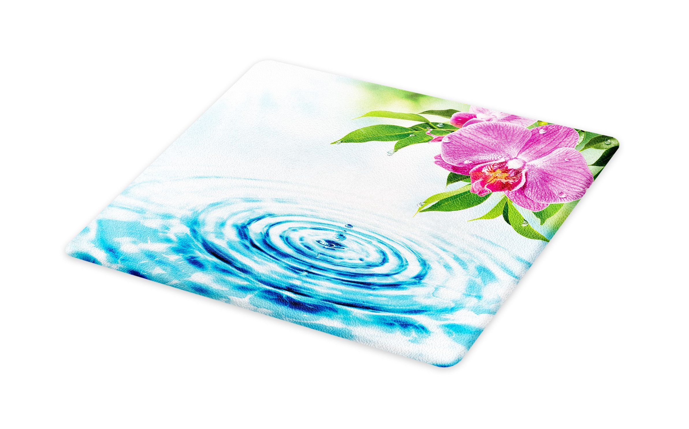 Lunarable Floral Cutting Board, Natural Inspired Relaxation Orchid Petals down on Water Spa Meditation Zen Concept, Decorative Tempered Glass Cutting and Serving Board, Large Size, Multicolor
