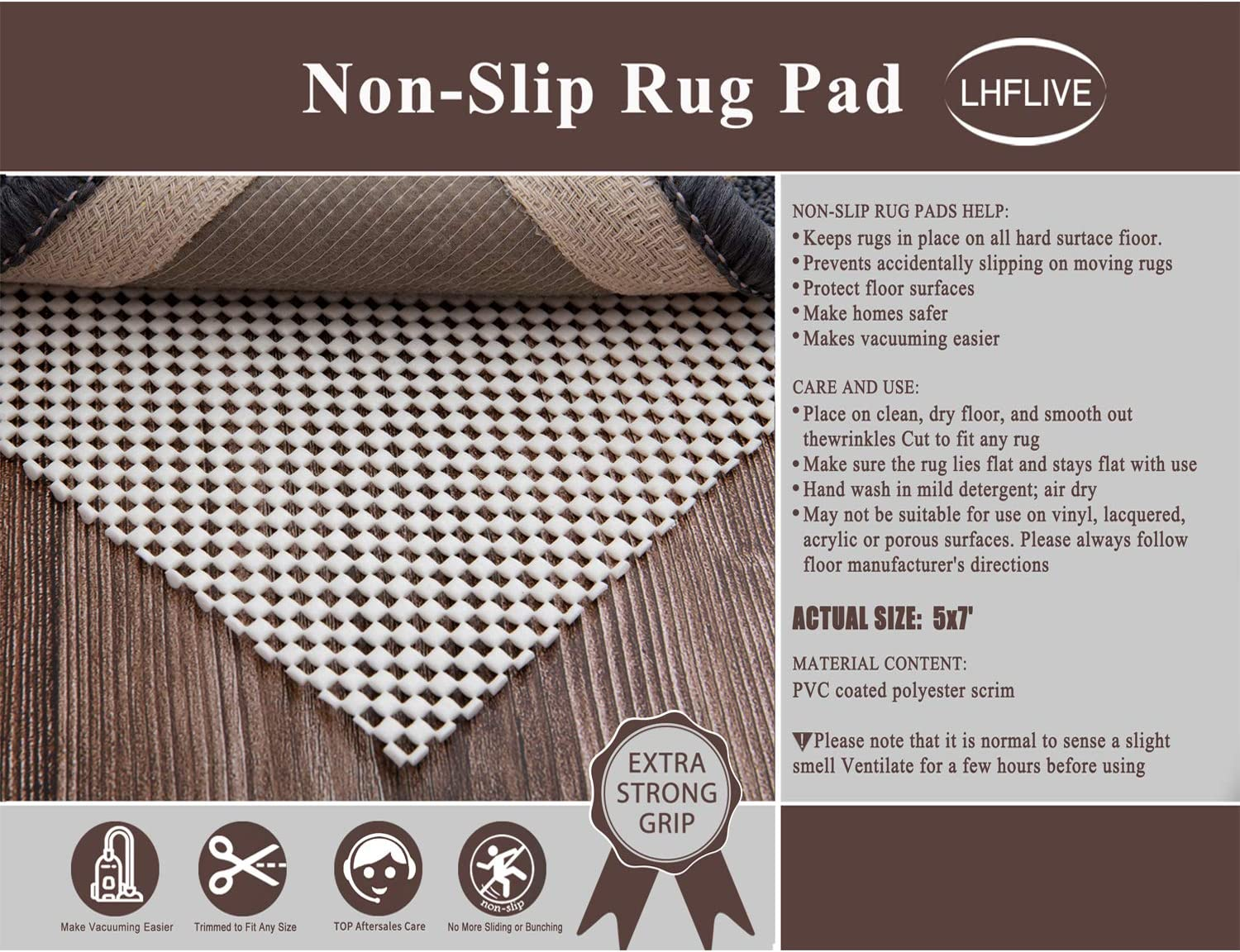 LHFLIVE 8 x 10 Non-Slip Area Rug Pad Extra Thick Rug Gripper for Any Hard Surface Floors Keep Your Rugs Safe and in Place