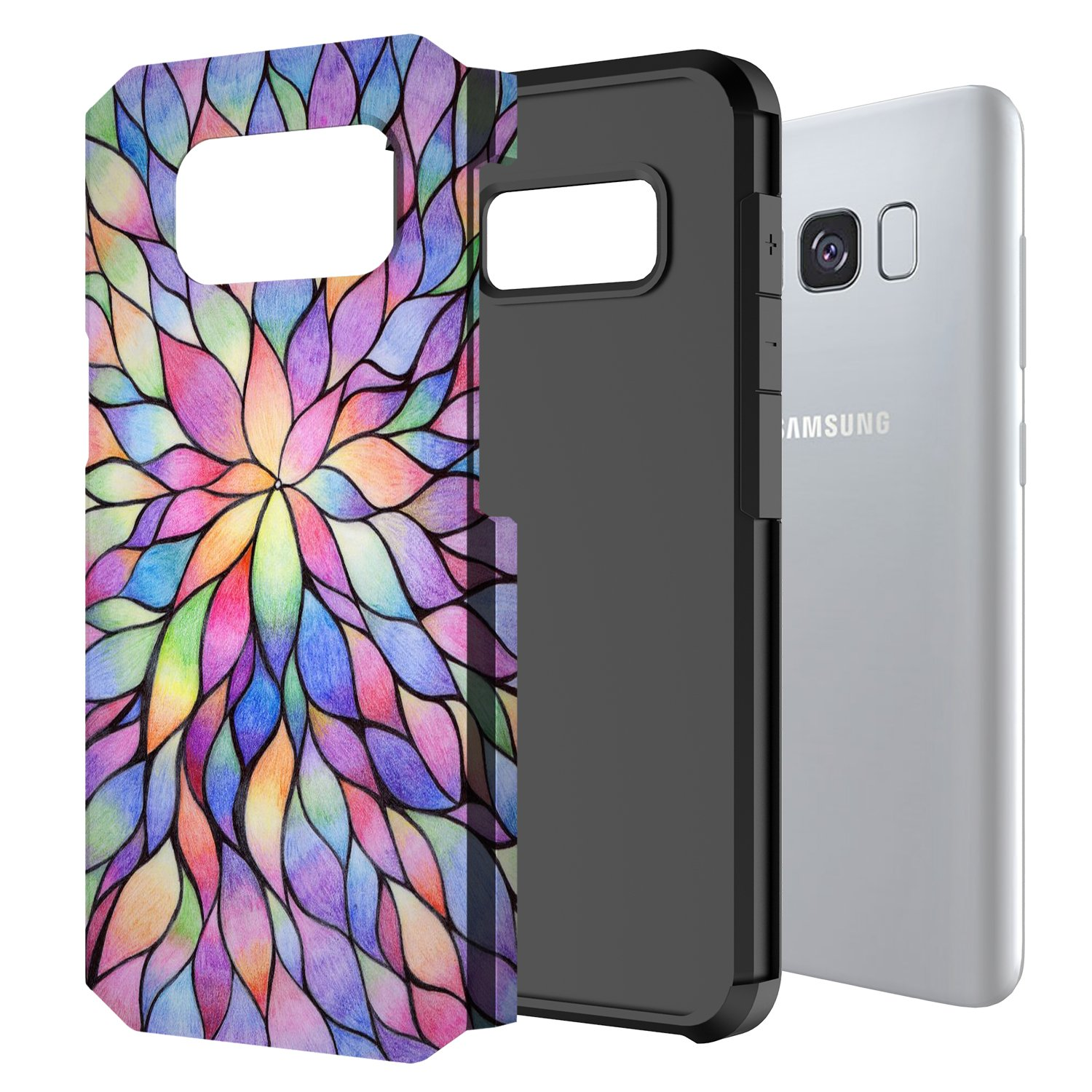 Galaxy S8 Case, GORGCASE [Drop Protection] Dual Layer Graphic Designed Shockproof Hard Hybird Slim Defender Armor Protector Cover for Samsung Galaxy S8 (COLORFUL PETALS) by GORGCASE (Image #2)
