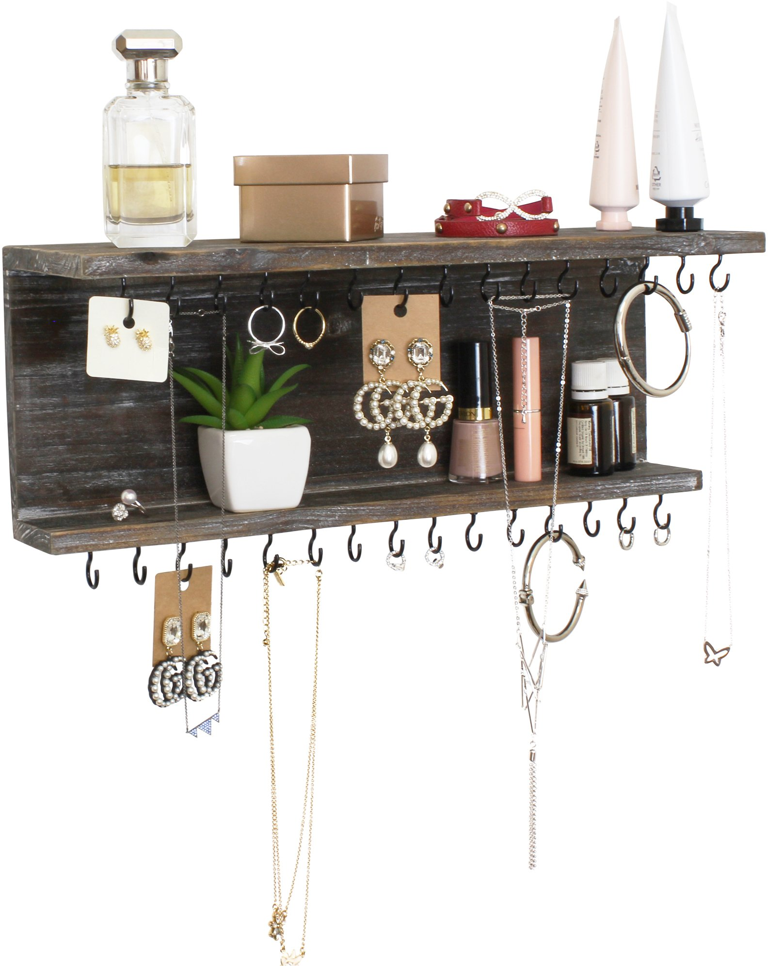 Rusoji Decorative Vintage Style Rustic Wood Wall Mounted Floating Jewelry Necklace Storage Shelves Display Rack Organizer with Hooks (Distressed Gray)