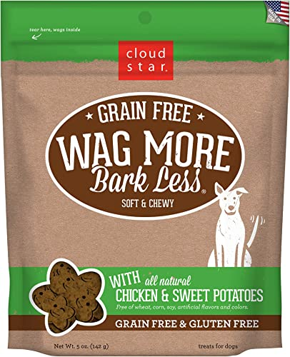 Cloud Star Wag More Bark Less Grain Free Soft and Chewy Biscuit Dog Treats, Oven Baked in The USA