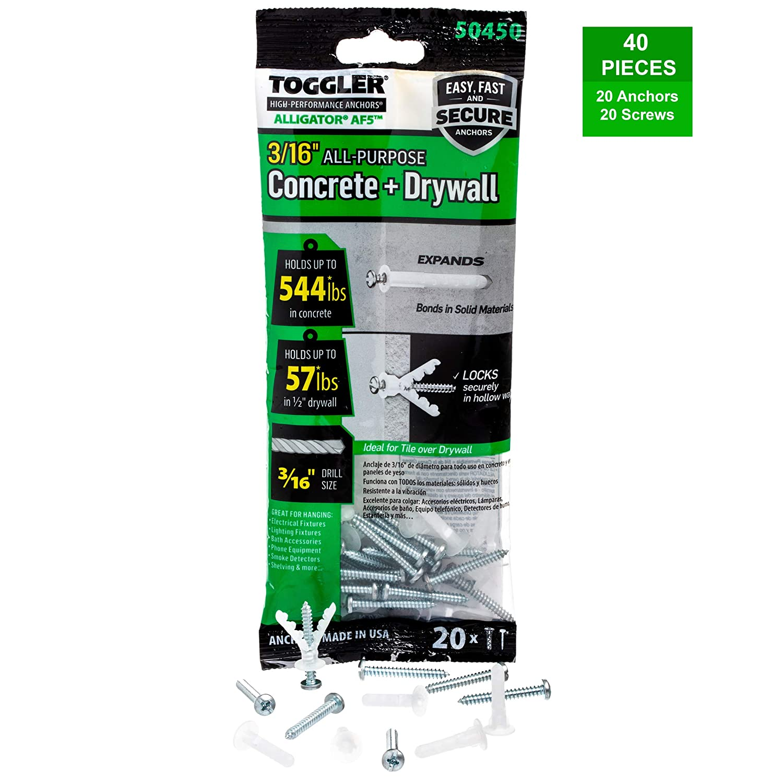 For #8 to #14 Fastener Sizes by TOGGLER Polypropylene Made in US Pack of 20 TOGGLER ALLIGATOR AF8 Flanged Anchor with Screws