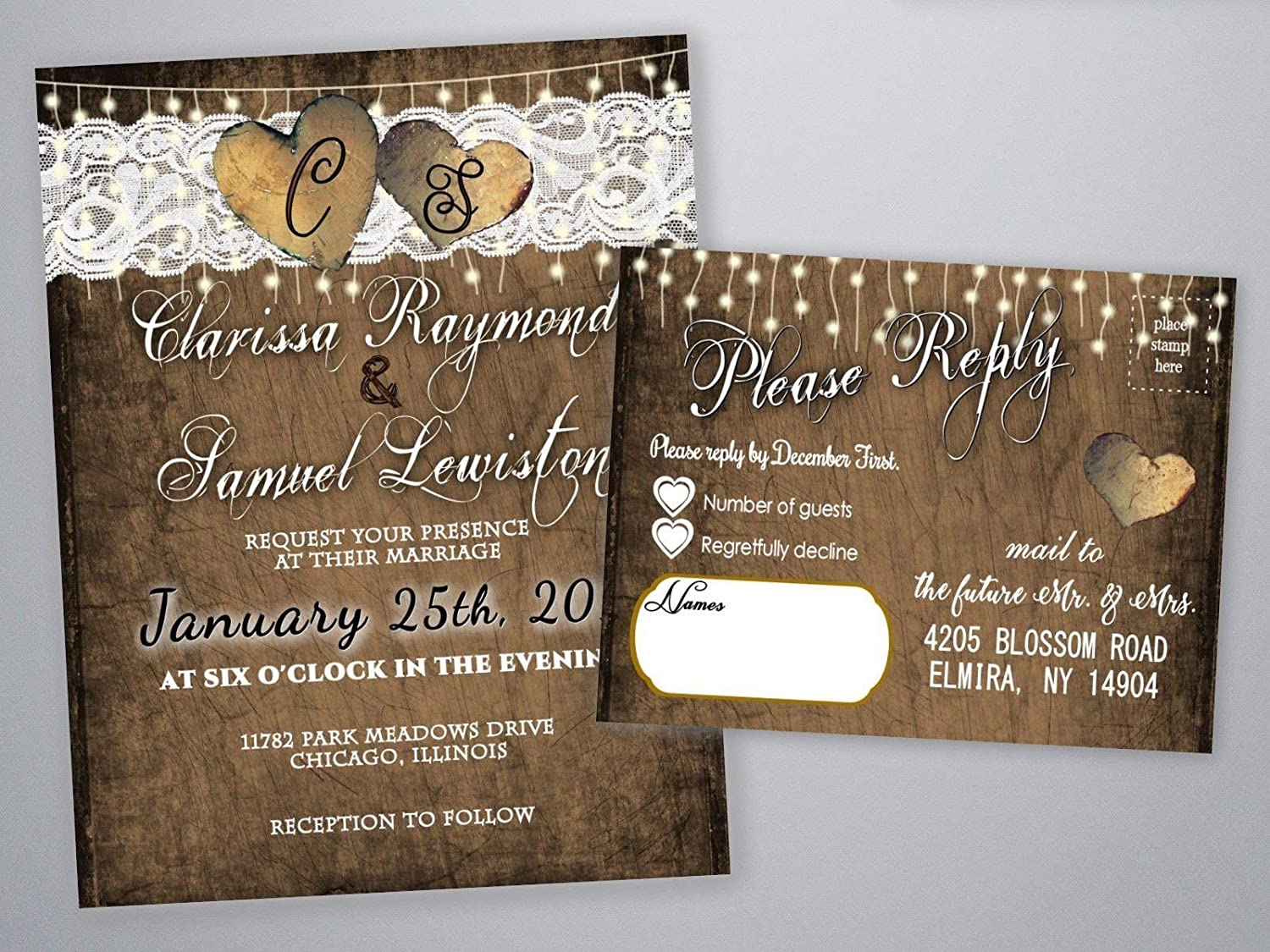 Personalized Wedding Invitations.Personalized Wedding Invitations Rustic Heart With Rsvp Cards Set Of 125