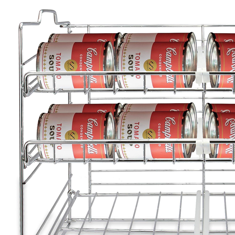Estante de alambre de acero inoxidable Conservas y almacenamiento de esta/ño Estante de lata de 3 niveles M/&W 6 organizadores de estante divisor Armario de cocina y despensa Organizar