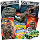 ColorBoxCrate Jurassic World Fallen Kingdom Coloring Book Toy Set by 7 PACK - Includes TRex Raptor Activity Books, Mystery Jurassic Park Matchbox Car, Crayons, Dinosaur Candy for Children Ages 4-10