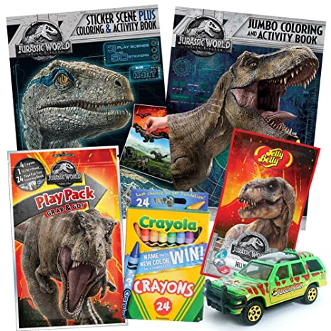 ColorBoxCrate Jurassic World Fallen Kingdom Coloring Book Toy Set By 7 PACK