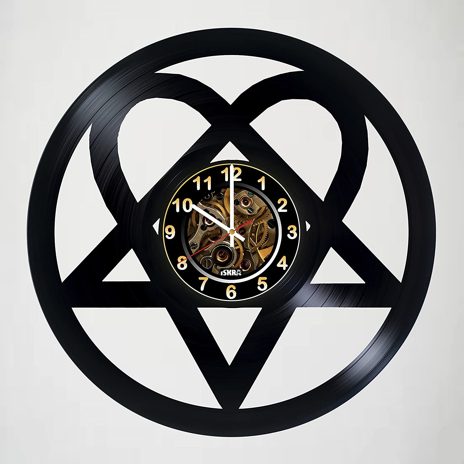 Iskra Shop H.I.M - Heartagram - Music Band Design Handmade Vinyl Record Wall Clock for Birthday Wedding Anniversary Valentine's Mother's Ideas for Men and Women him and her