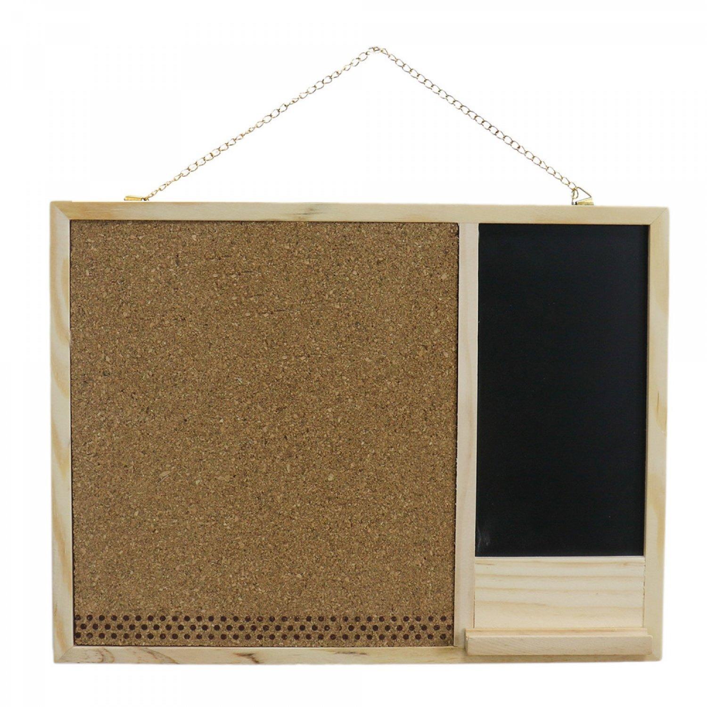 TOPMO Wooden Framed Corkboard Mini Wall Bulletin Boards Chalkboard Blackboard with Hanging Metal Chain for Restaurants Weddings or Home Decoration