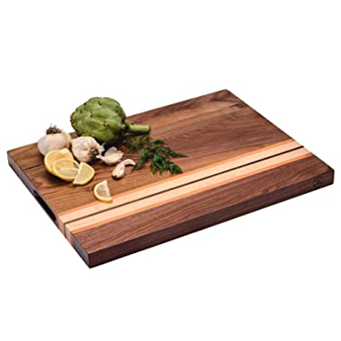 Large Multipurpose American Walnut Wood Cutting Board with Cherry/Maple Accents: 17x13x1.1 Reversible Charcuterie Board with Cracker Holder (Gift Box Included) by Sonder Los Angeles