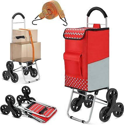 rouge /& marron 6 roues Shopping Chariot Avec Poignée réglable