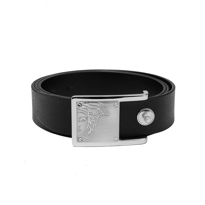 88cf90e4a896a Amazon.com: Versace Collection Men's Medusa Buckle Saffiano Leather Belt  Black: Clothing