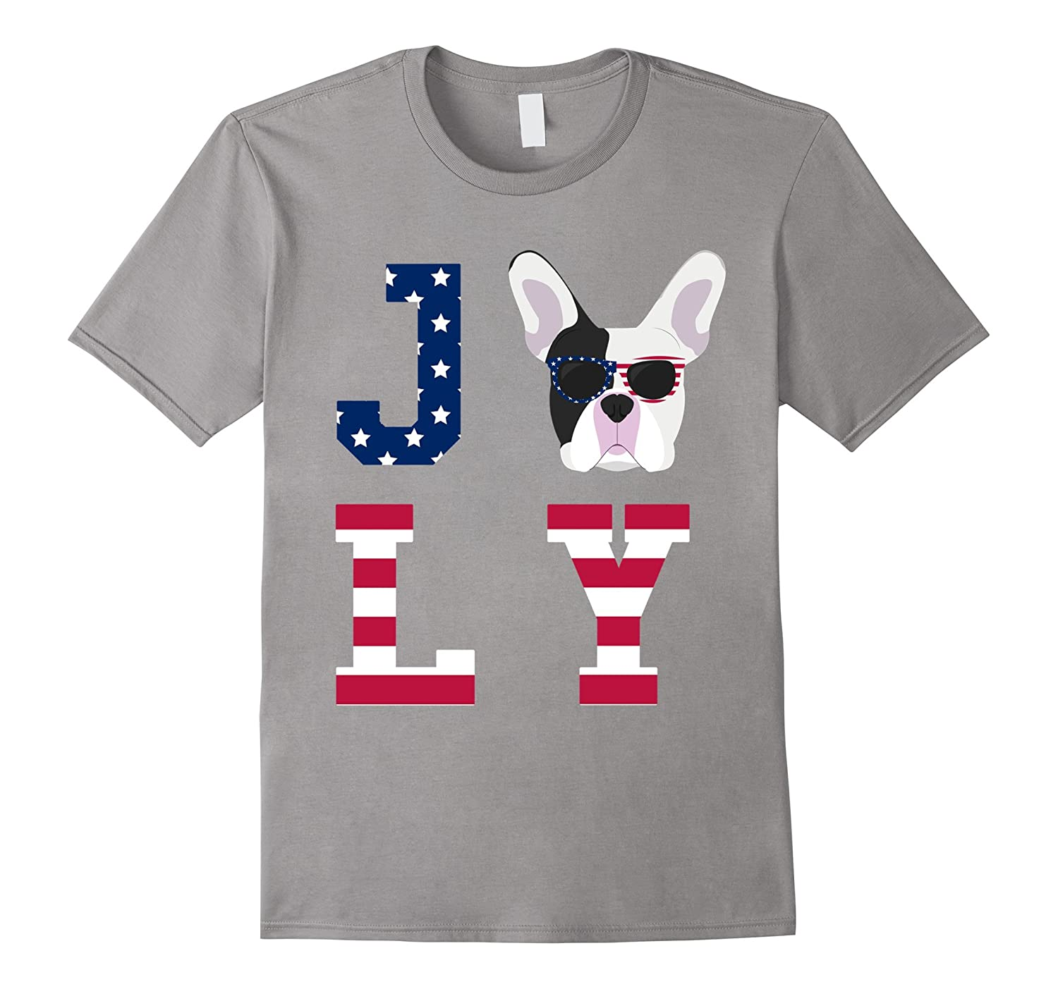 4th of July - French Bulldog American Flag Dog T-Shirt-Art