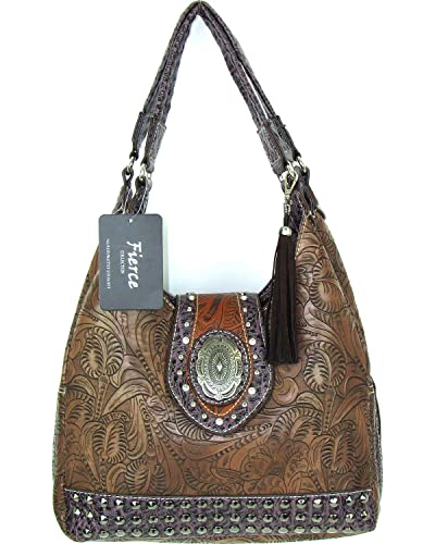 46f219fd931 Amazon.com: Savana Women's Fierce Tooled Design Conceal Carry Purse Brown  One Size: Shoes