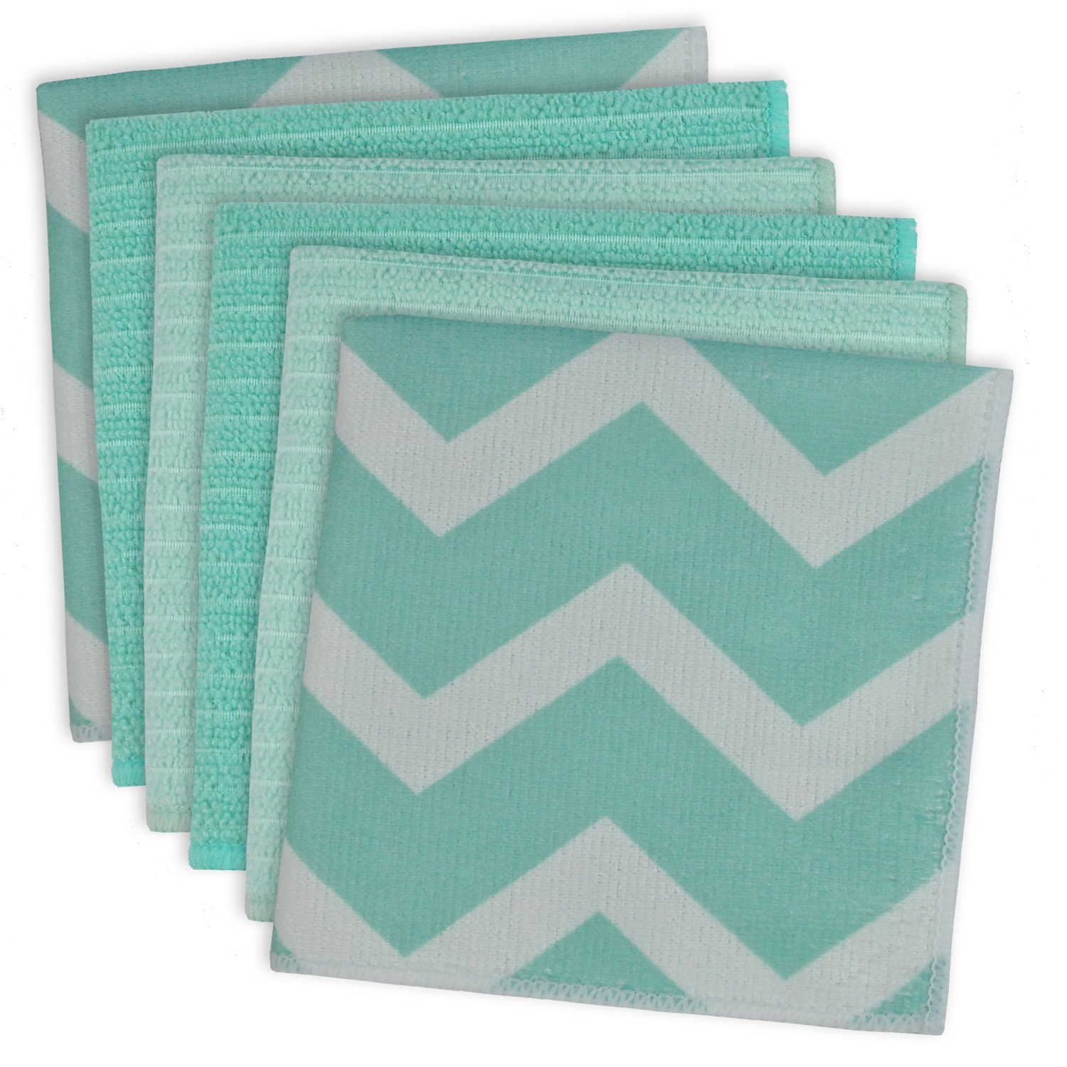 DII Microfiber Multi-Purpose Cleaning Cloths Perfect for Kitchens, Dishes, Car, Dusting, Drying Rags, 12 x 12, Set of 6 - Aqua Chevron