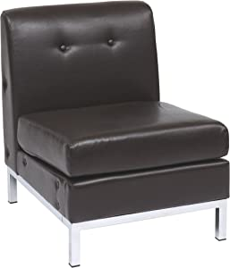 OSP Home Furnishings Wall Street Armless Chair, Espresso