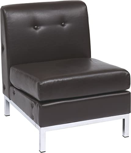 AVE SIX OSP Home Furnishings Wall Street Armless Chair, Espresso