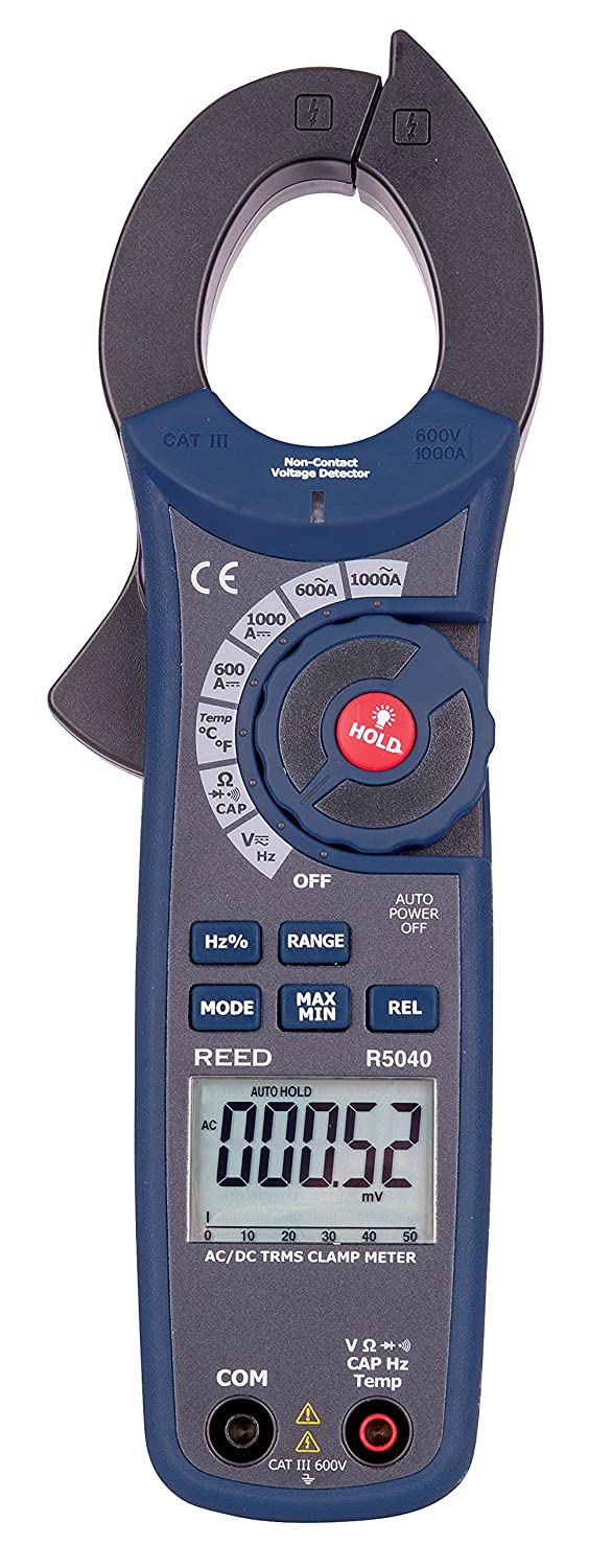 REED Instruments R5040 True RMS AC/DC Clamp Meter with Temperature and Non-Contact Voltage Detector, 1000A