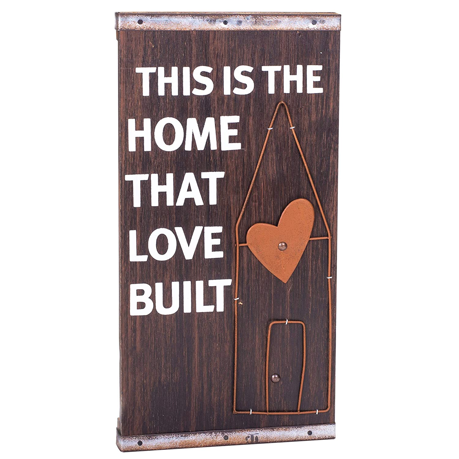 ShopGanz House That Love Built Brown 8 x 16 Inch Wood and Metal Decorative Hanging Wall Plaque