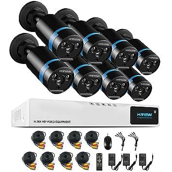 [1920*1080P CCTV] H.View kit vigilancia de 8 Camaras de Vigilancia Seguridad (Onvif ...