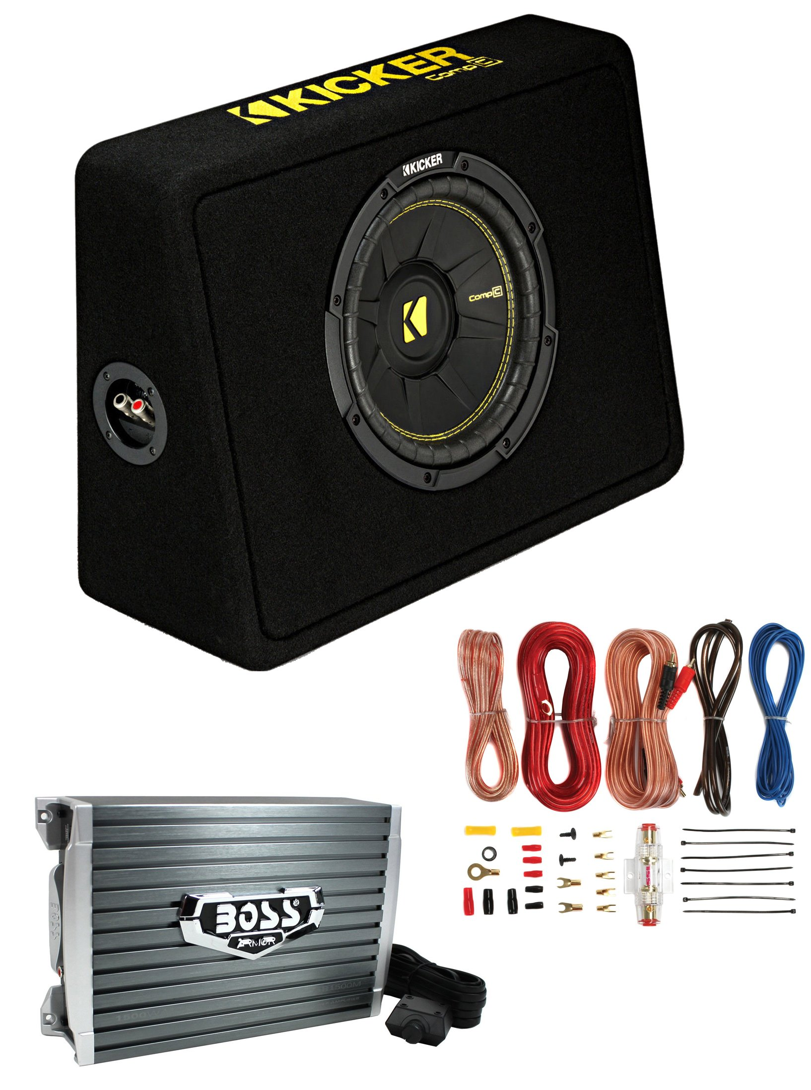 Kicker 44TCWC102 10'' 600W Subwoofer Box+Boss AR1500M 1500W Mono Amp +Amp Kit
