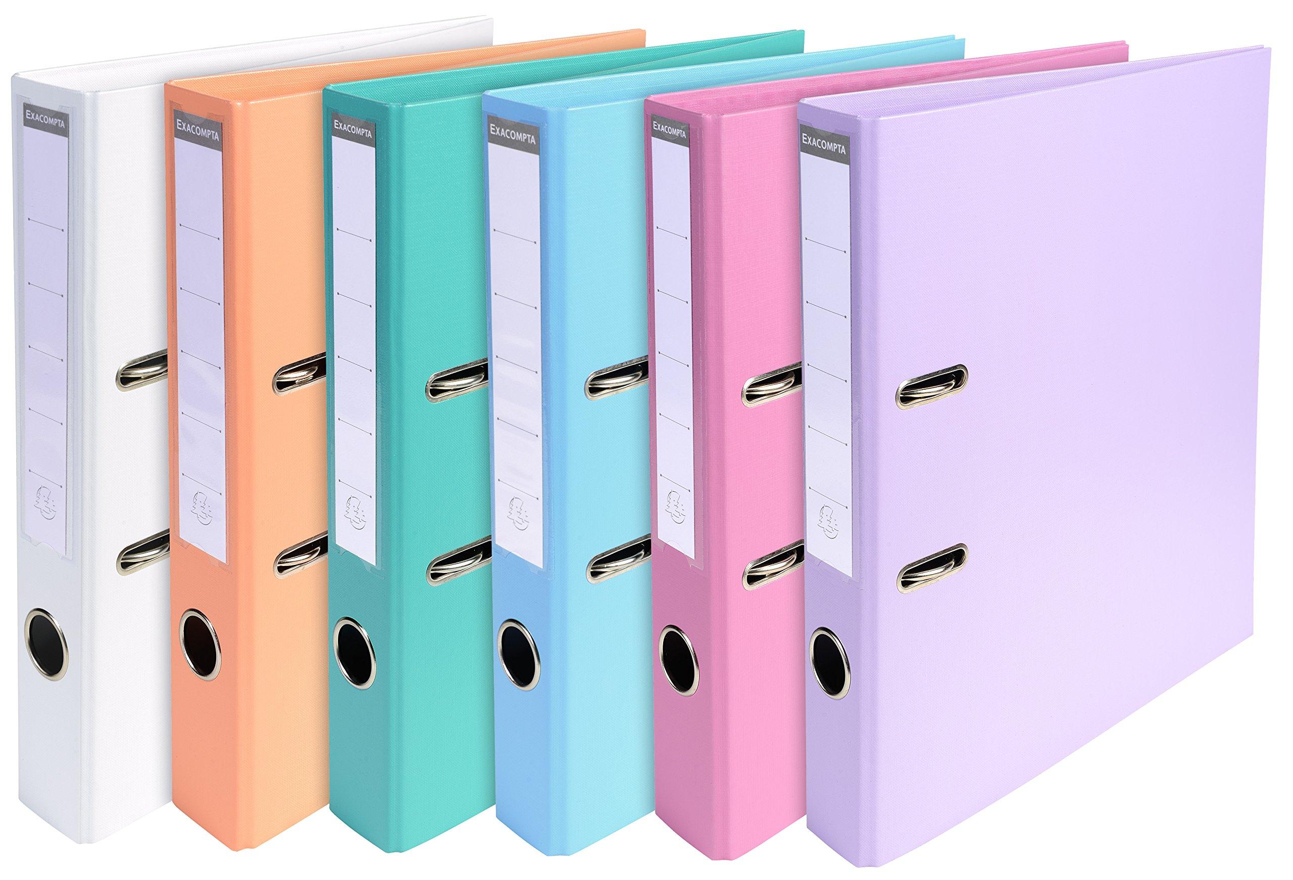 Exacompta 53044E A4''Prem Touch'' PVC Lever Arch Files - Multi-Colour (Pack of 10)
