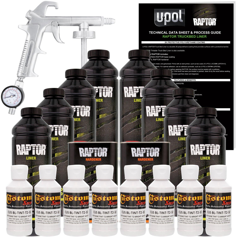 d97c0e2b12 Amazon.com: U-Pol Raptor Bright White Urethane Spray-On Truck Bed Liner Kit  w/Free Spray Gun, 8 Liters: Automotive