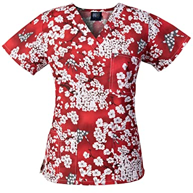 fbc0c64be08 Image Unavailable. Image not available for. Color: Medgear Womens Fashion  Scrubs Top, Printed ...