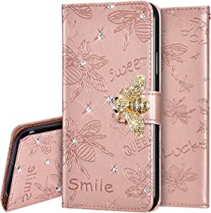 PHEZEN Case for iPhone 8 Plus/ 7 Plus Wallet Case,Emboss Bee 3D Bling Diamonds Glitter PU Leather Flip Wallet Strap Case Magnetic Kickstand Folio Flip Book Protective Cover with Card Slots,Rose Gold