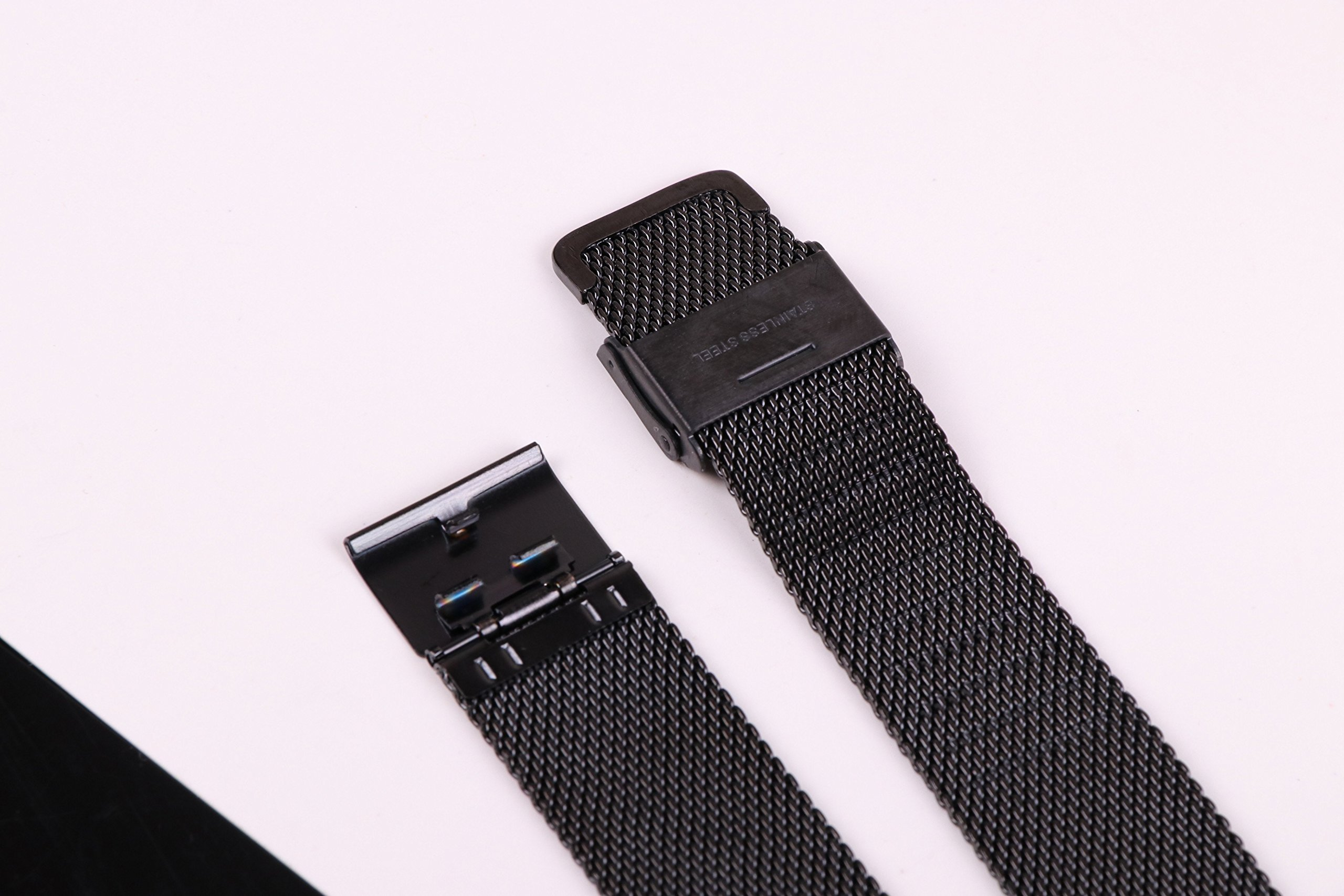 20mm Stainless Steel Mesh Watch Band Black Chainmail Mesh Strap Replacement for Business Sport Watches by autulet (Image #5)