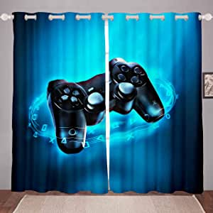 Tbrand Galaxy Windows Drapes Constellation Series Gamepad Curtains for Bedroom Living Room Girls Pink Video Game Gamepad Curtains Game Controller Room Decoration W46*L54
