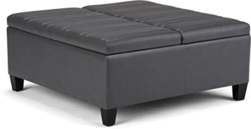 SIMPLIHOME Ellis 36 inch Wide Square Coffee Table Lift Top Storage Ottoman