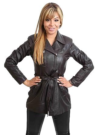 Veste en Cuir Véritable pour Femme avec Ceinture Svelte Fit Décontractée  Style Aby Marron (S e59391b1fa2